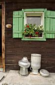 Milk can in front of an alpine hut, Stodertal, Upper Austria, Austria, Alps, Europe