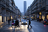 Junction, street scene, shops at the 7th arrondissement, tower building Montparnasse, Paris, France, Europe