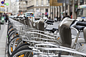 Bicycles at a public bike rental outlet at the city center, Paris, France, Europe