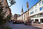 Main square with St. James' Church and Holy Trinity column, Villach, Carinthia, Austria