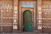 Facade of an old nubian house in the Nubian Museum, Aswan, Egypt, Africa