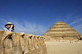 View from the south tomb towards the step pyramid of Djoser in Saqqara, Egypt, Africa