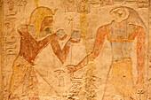 Relief in the vestibule inside the Temple of Mandulis in Kalabsha, Aswan, Egypt, Africa