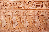 Relief of the capture of hetite warriors after the battle of Kadesh, Temple of Ramese II., Abu Simbel, Egypt, Africa
