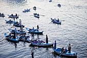 Souvenir vendors in small boats on the river Nile, Edfu, Egypt, Africa
