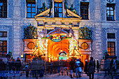 Entrance to Christmas market, Munich Residenz, Munich, Bavaria, Germany