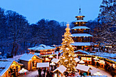Christmas market at the Chinesischer Turm, Englischer Garten, Munich, Bavaria, Germany