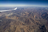Aerial view of Andes Mountains, near Santiago, Chile, South America, America
