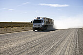 Fast truck on gravel road, Peninsula Valdes, Chubut, Patagonia, Argentina, South America, America