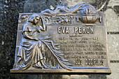 Tomb of Eva Peron in Recoleta cemetery, Buenos Aires, Argentina, South America, America