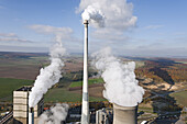 Aerial view of a fossil-fuel power station with cooling towers, Buschhaus Power station, Helmstedt, Lower Saxony, northern Germany
