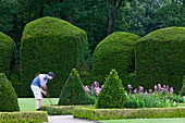 Trimmed hedges in the castle grounds of Clemenswerth Castle in Sögel, Lower Saxony, northern Germany