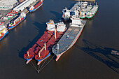 Aerial view of freighters moored in Emden harbour, Emden, Lower Saxony, northern Germany