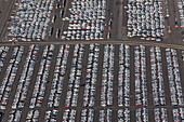 Aerial view of a parking lot at the Volkswagen plant Wolfsburg, Lower Saxony, Germany