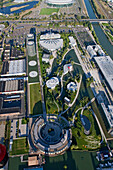 Aerial shot of VW Autostadt and Volkswagen factory, Wolfsburg, Lower Saxony, Germany