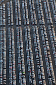 Aerial view of many parked vehicles at Volkswagen automobile plant, Wolfsburg, Lower Saxony Germany