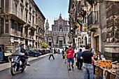 Cathedral and Via Garibaldi, Catania, Sicily, Italy