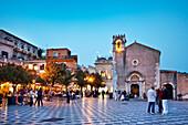 Main square, Piazza IX. Aprile, Taormina, Sicily, Italy