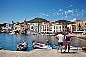 Harbour, Lipari city, Island of Lipari, Aeolian islands, Sicily, Italy