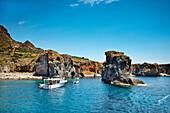 Boats in the bay of Cala Junca, Punta Milazzese, Panarea Island, Aeolian islands, Sicily, Italy
