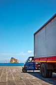 Truck at harbour, Panarea Island, Aeolian islands, Sicily, Italy