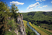 View to the Eichfelsen rocks above the Danube river, near Beuron monastery, Upper Danube nature park, Danube river, Baden-Württemberg, Germany