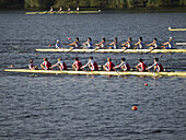 Rowing regatta on river Dove Elbe, Hamburg, Germany