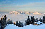 Snow-covered alpine hut with Risserkogel, Plankenstein, Setzberg and Wallberg in the background, Rotwand, Spitzing area, Bavarian Pre-Alps, Bavarian Alps mountain range, Upper Bavaria, Bavaria, Germany