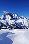 View to Hohe Gaisl, Plaetzwiese, Fanes-Sennes natural park, UNESCO World Heritage Site, Dolomites, South Tyrol, Italy