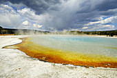 Sunset Lake with colourful algae and bacterial colonies, Black Sand Geyser Basin