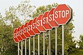 The Stop, sculpture by artist Michael Zheng, part of the Vancouver Sculpture Biennale, Vancouver, BC, Canada