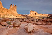 The Three Gossips and Courthouse Buttes, Arches National Park Utah USA