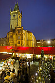 Old Town Hall in Old Town Square during Christmas time, Prague, Czech Republic