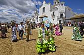 Pilgrims in El Rocio, ´romería´  pilgrimage) to El Rocio. Almonte, Huelva province, Andalucia, Spain