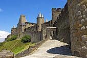 La Cité, Carcassonne medieval fortified town. Aude, Languedoc-Roussillon, France