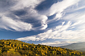 Foehn clouds over Vosges mountains, lower mountain ranges, view from Col du Wettstein, deciduous forest in autumn, Alsace, France