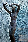 Spain, Cataluna, Barcelona, Sants montjuic, bronze reproduction sculpture of the piece entitled Alba Dawn by the sculpter Georg Kolbe in the Barcelona Pavilion, designed by the architect Mies Van De Rohe