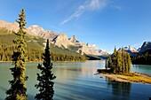 Spirit Island on Maligne Lake in Jasper National Park, Rocky Mountains, Alberta, Canada