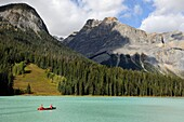 Canoeing on Emerald Lake  Yoho National Park, Rocky Mountains, British Columbia, Canada