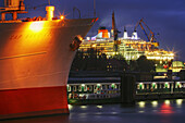 Queen Mary 2 in dock at Blohm & Voss in Hamburg Harbour, Germany