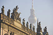View to the TV-Tower over the german historical Museum, Berlin, Germany
