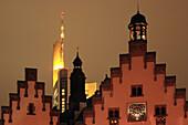 Top of Römer, townhall, highrise building, Frankfurt am Main, Hesse, Germany