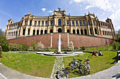 Young people in front of the Maximilianeum, Munich, Upper Bavaria, Germany