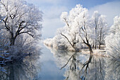 Winter scenery with Loisach River, Upper Bavaria, Germany