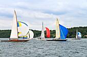 Sailing regatta of Square Metre Yachts, Skerry Cruisers, on lake Starnberger See, Upper Bavaria, Bavaria, Germany