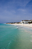 Turqoise water, pristine white sand beach and beachside hotels, Playa del Carmen, Quintana Roo, Mexico