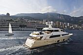 Luxury yacht in Monaco harbor, Monte Carlo, Monaco