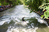 Eisbach surfer, English Garden, Isar Cycle Route, Munich, Upper Bavaria, Germany