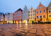 Gothic town houses, old town, Landshut, Lower Bavaria, Germany