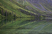 Reflection of landscape on water surface of St. Elias Lake, Kluane National Park and Reserve, Yukon Territory, Canada